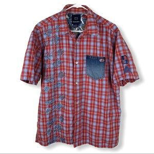 Bugle Boy 90's Hawaiian Plaid Denim Pocket Shirt